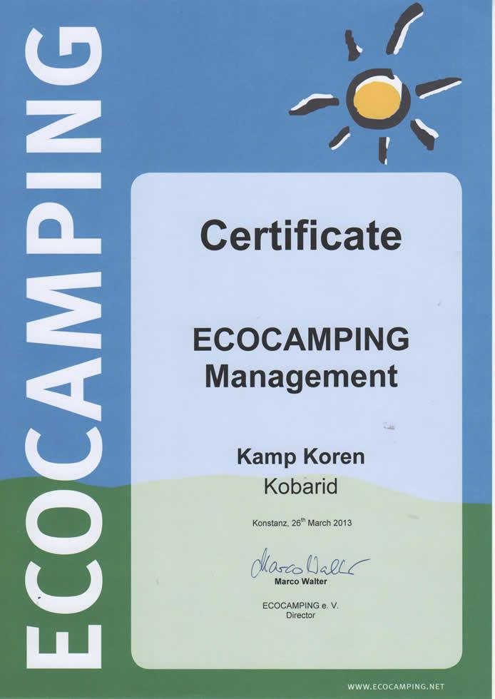 Eco certifikat Kamp Koren